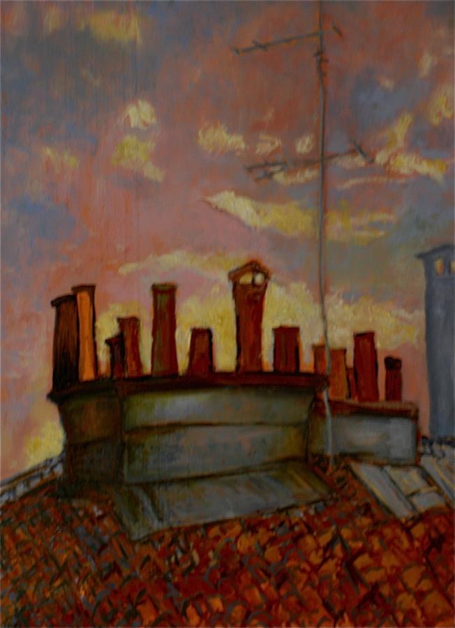 L'aube sur les cheminées