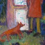 Un renard qui regarde un homme qui regarde une affiche