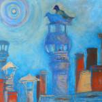 Deux pigeons sur la cheminée