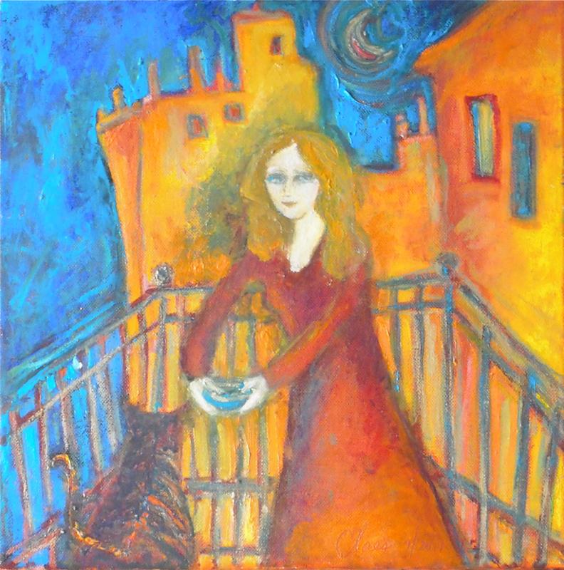 Femme et chat sur un balcon