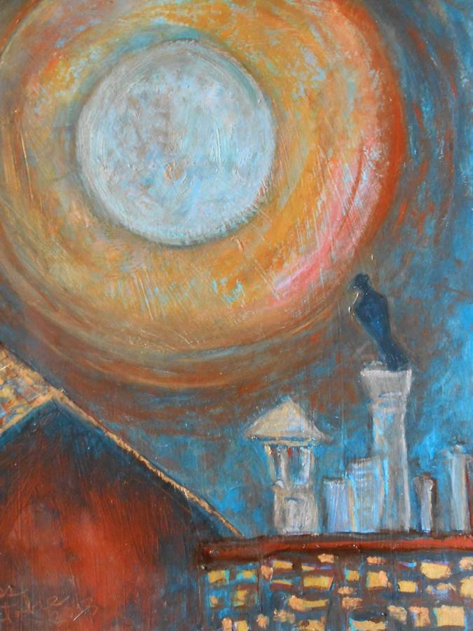 Pigeon sous la pleine lune